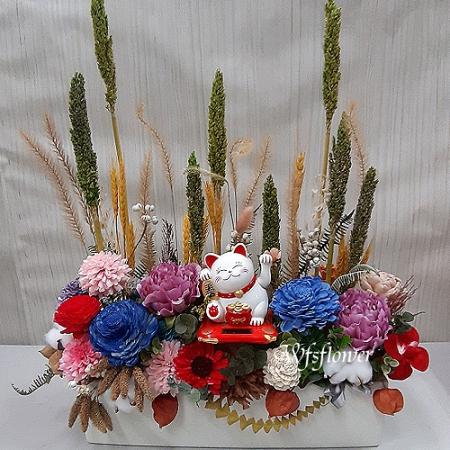 J065溫馨乾燥花盆花台南市花店代客送花