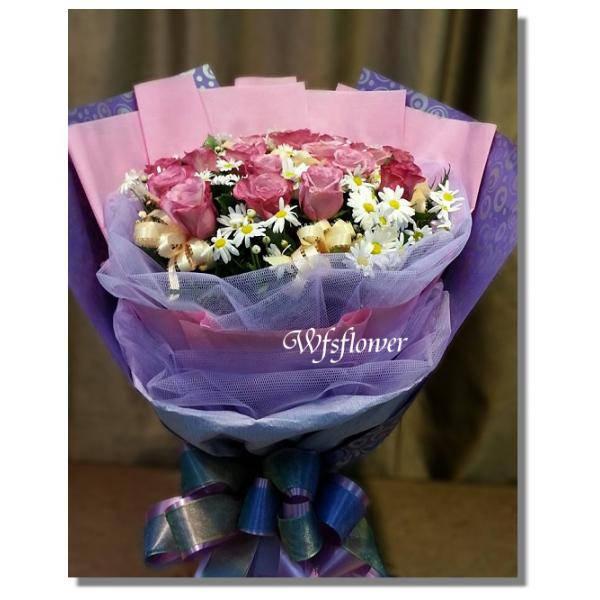 F100紫有你紫玫瑰情人花束生日花束台南市花店