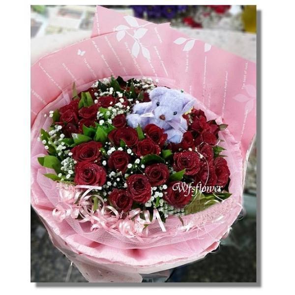 F102玫麗人生紅玫瑰花束情人花束生日花束台南市花店