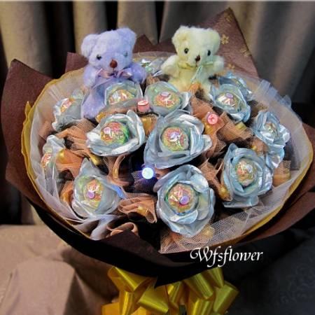 N080LED燈閃亮之星甜蜜金莎15朵花束生日花束台南花店萬花鄉花坊