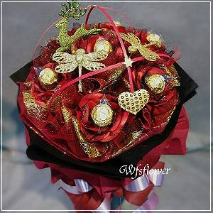C002聖誕叮叮噹火紅小蘋果金莎花束台南市花店