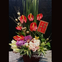D026開運盆花好運當頭好采頭新春花禮台南市花店