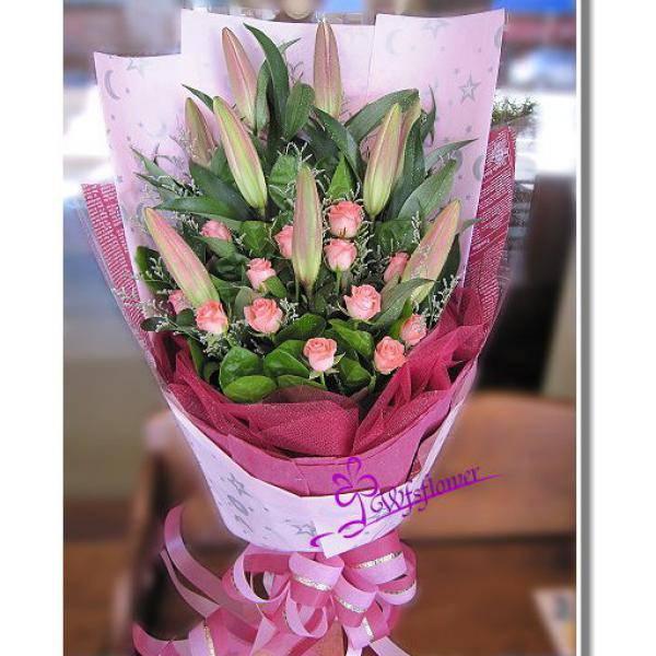 F072綻放驚豔粉色玫瑰花粉百合花束台南市花店