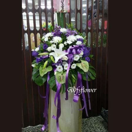 BL005素雅紫白色系精緻花架台南花店(一對)
