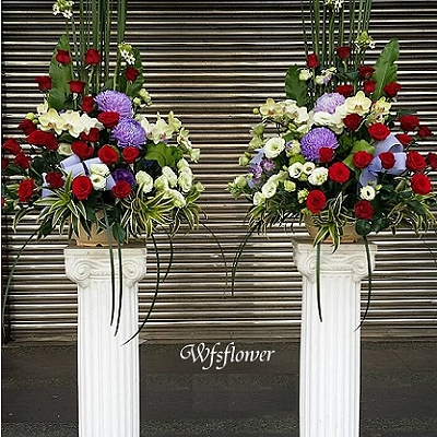 BS01歐式羅馬花柱一對開幕展場賀禮台南市花店