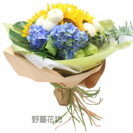 AA083向日葵白乒乓繡球花