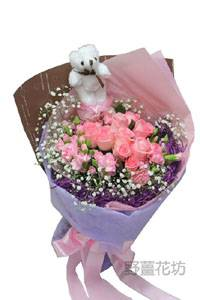 AA060玫瑰/滿天星花束