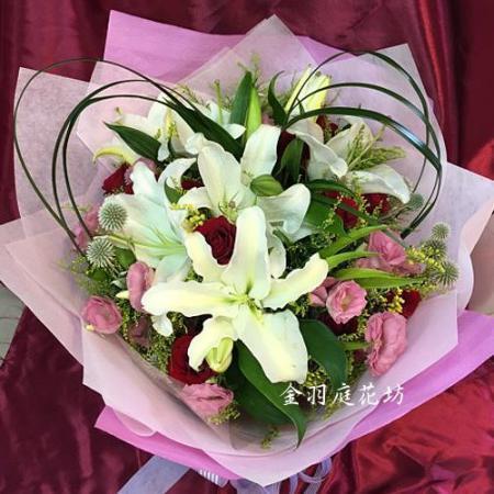 A045青春氣息百合玫瑰傳情花束演唱會獻花花束