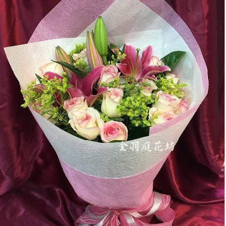 A046無盡的愛百合玫瑰傳情花束生日花束