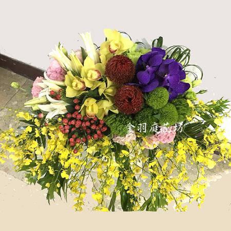 E065精緻盆花開幕誌慶接待開會講台花