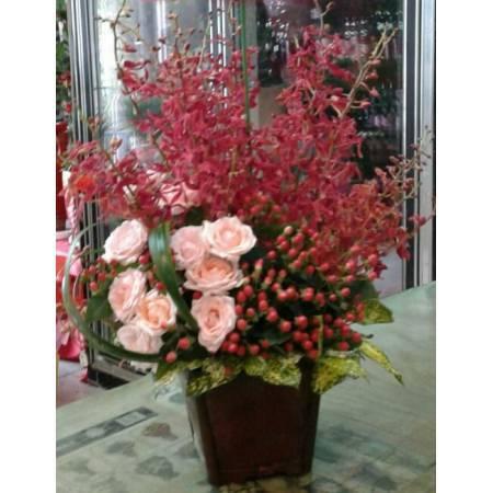 E075祝賀藝術盆花