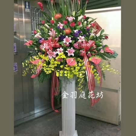 C028羅馬柱花籃造型花柱喜慶花禮桃園花店