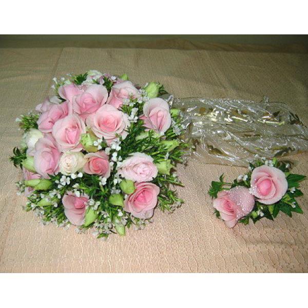 B001新娘捧花與胸花