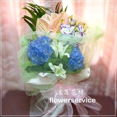 台北士林花店沐恩花藝情人節花束百合繡球花束生日花束-k012
