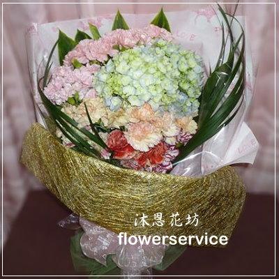 K013台北士林花店沐恩花藝情人節花束繡球花康乃馨花束母親節生日花束-k013