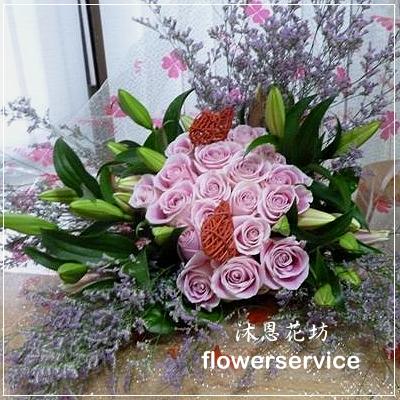 台北花店士林區花店沐恩花藝情人節花束玫瑰百合花束-K021
