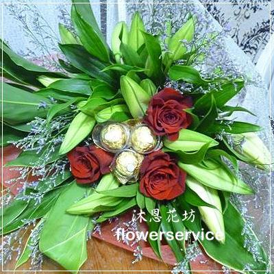 K022台北花店士林區花店沐恩花藝情人節花束玫瑰百合花束-K022