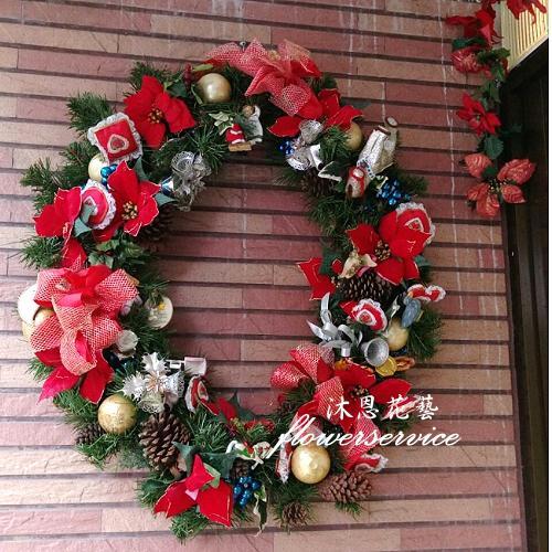 H001聖誕花圈歡樂聖誕布置花圈
