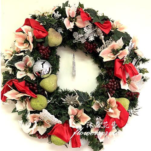 H003聖誕花圈歡樂聖誕布置花圈