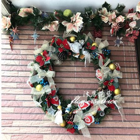 H004聖誕花圈歡樂聖誕布置花圈