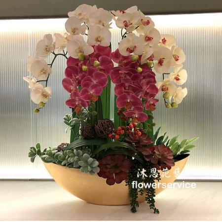 R004人造花盆花玄關或大廳佈置店面擺飾