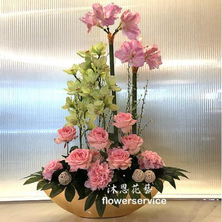 R005人造花盆花玄關或大廳佈置店面擺飾