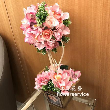 R008人造花盆花玄關或客廳佈置店面擺飾