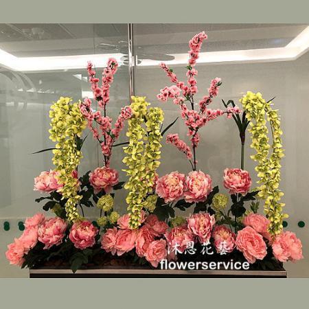 R009人造花盆花玄關或大廳佈置店面擺飾