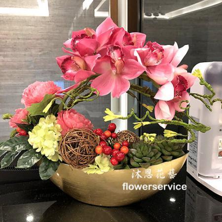 R020人造花盆花玄關或大廳佈置店面擺飾