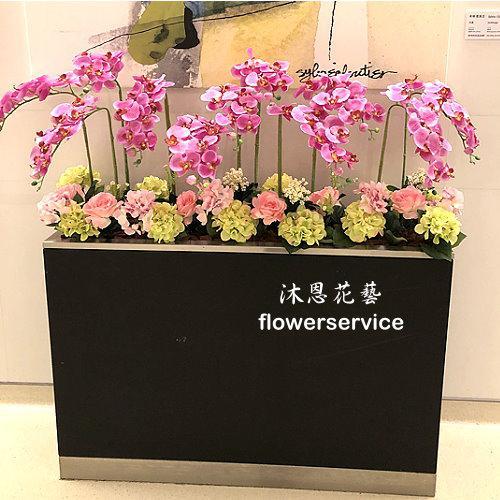 R022人造花盆花玄關或大廳佈置店面擺飾