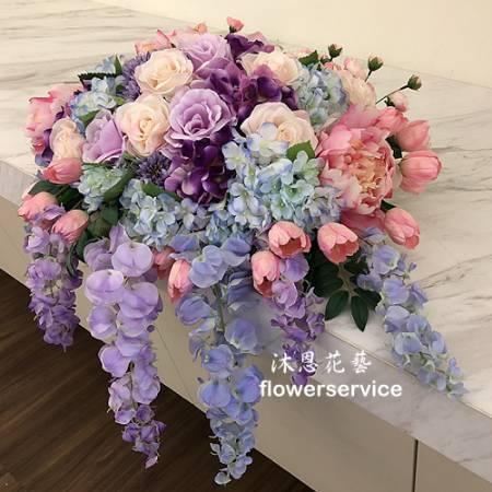 R023人造花盆花玄關或客廳佈置店面擺飾