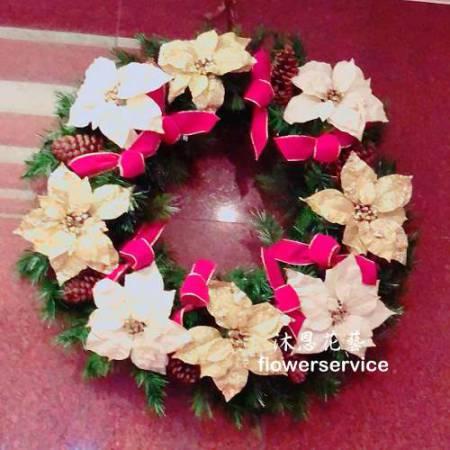 H023聖誕花圈歡樂聖誕布置花圈