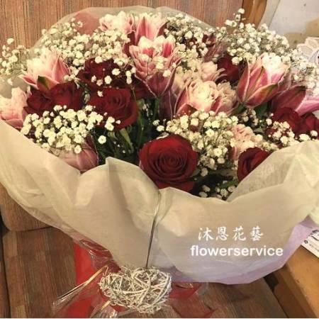 K096玫瑰百合花束情人節花束生日特殊節日花束