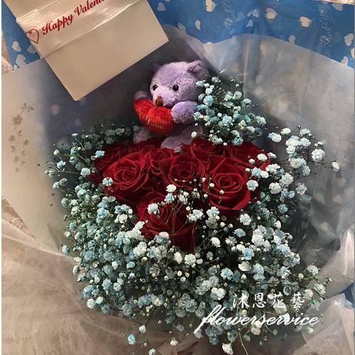 K107愛的進行式進口玫瑰花束情人節熱賣