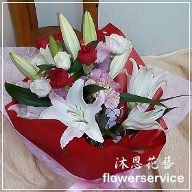 K035台北花店士林區花店沐恩花藝情人節花束百合玫瑰瑰花束生日花束
