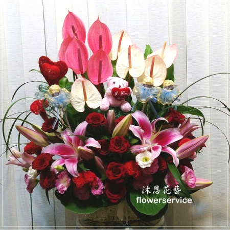 M051台北花店沐恩花藝祝賀盆花喜慶盆花