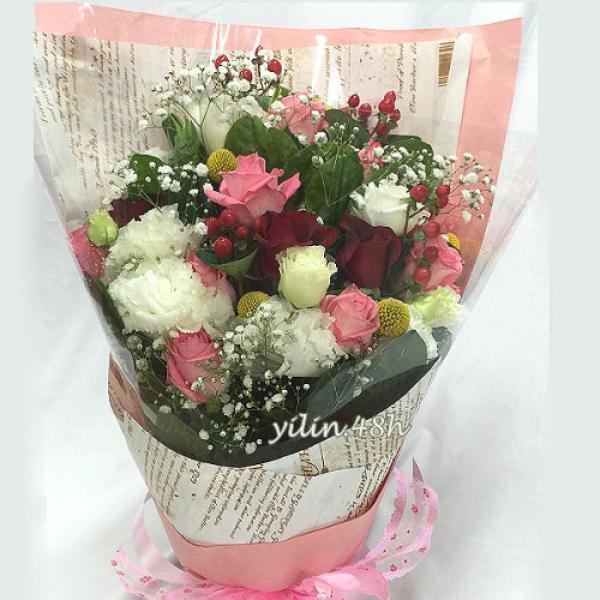 A159滿滿的祝福玫瑰桔梗花束情人節生日花束