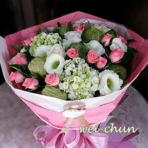 繡球玫瑰花束韋全花店新竹花店