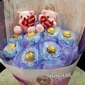 D007金莎巧克力玩偶花束逸林竹北花店新竹花店