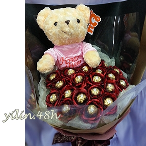 D017金莎巧克力玩偶花束逸林竹北花店來店自取有特惠喔