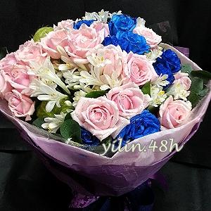A128雙色玫瑰花束情人節花禮韋全花店新竹花店