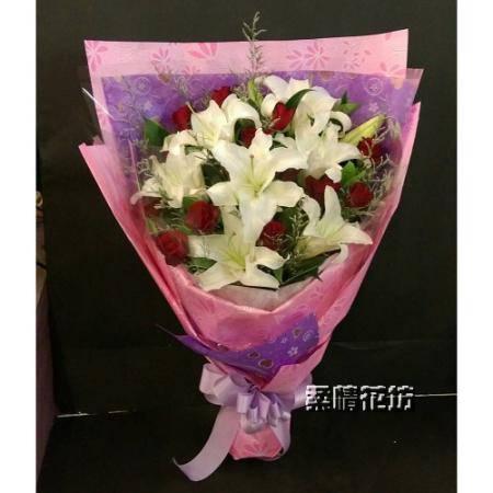 A022百合玫瑰花束情人花束生日花束