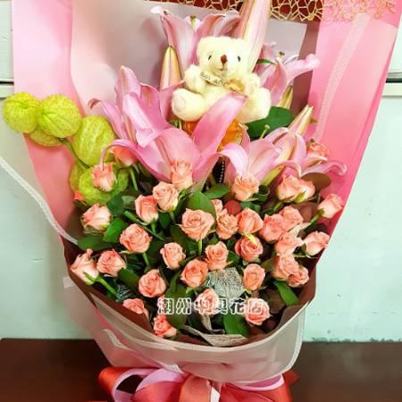 A018浪漫真情百合玫瑰花束屏東代客送花