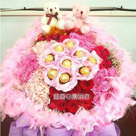 A020夢幻之星玫瑰金莎花束大型花束求婚花束