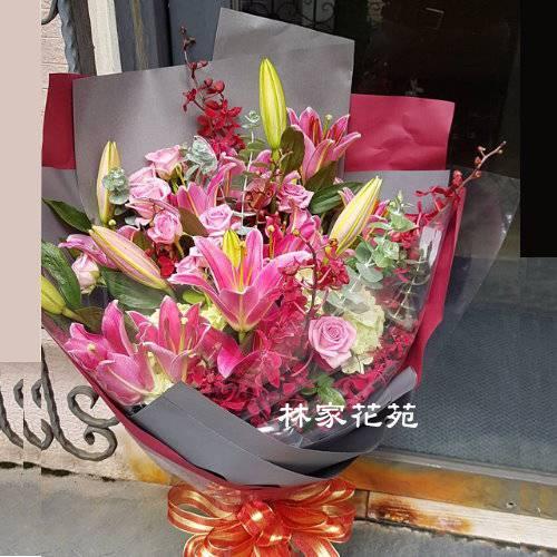 A038百合玫瑰花束傳情花束演唱獻花生日花束