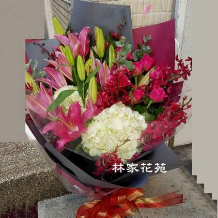 A042喜歡你百合繡球花傳情花束演唱獻花生日花束