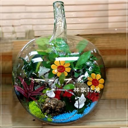 E011玻璃球~開運綠色組合造型盆栽