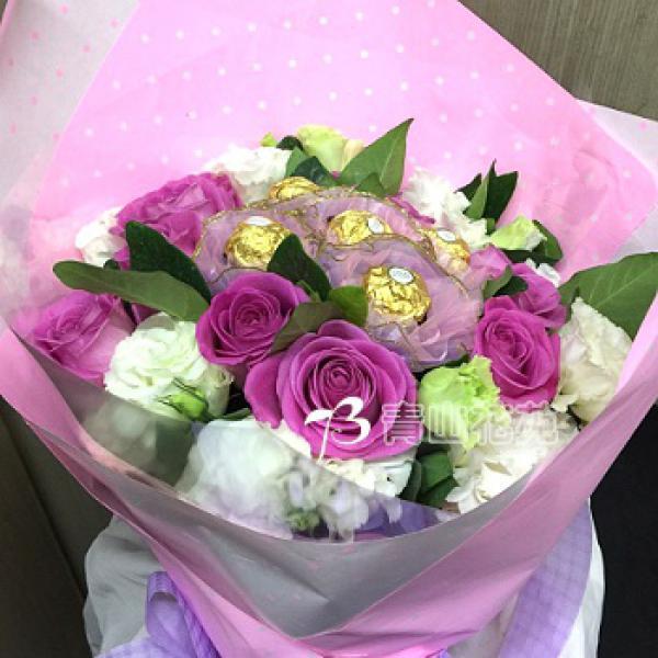 A004玫瑰金莎花束生日特殊節日花束