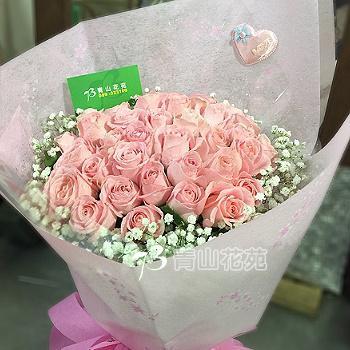 A005粉玫瑰花束情人節生日花束浪漫花束