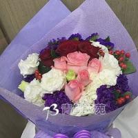 A010玫瑰桔梗花束生日花束情人節花束